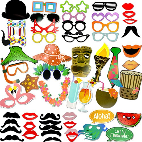 Coceca 60PCS Photo Props Selfie DIY Props for Hawaiian Themed Parties, DIY Luau Party Supplies for Hawaii Themed Summer Parties,Birthday Parties, Wedding, Graduation and (Hawaiian Party Dress)