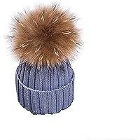 EXQULEG Varm mössa, äkta pälstofs pudelmössa, vintermössa, tofsmössa, pälstofs tvättbjörn raccoon päls