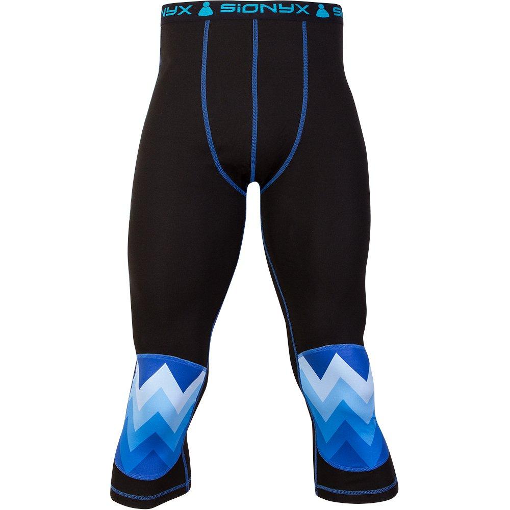 ZackForMe Pant schwarz/blau Herren Sionyx Funktionsunterwäsche Thermowäsche für Sport und Freizeit Snowboard Skifahren Langlaufen Radfahren Hose knielang