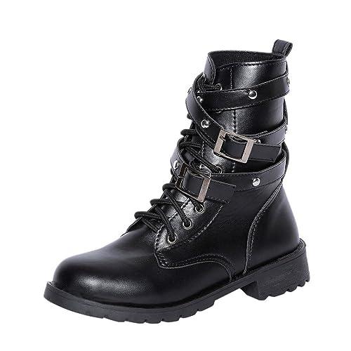 Beladla Zapatos De Mujer Botines Cortos Fondo Plano TalóN Grueso Botas Martin Botines Botas De Moto