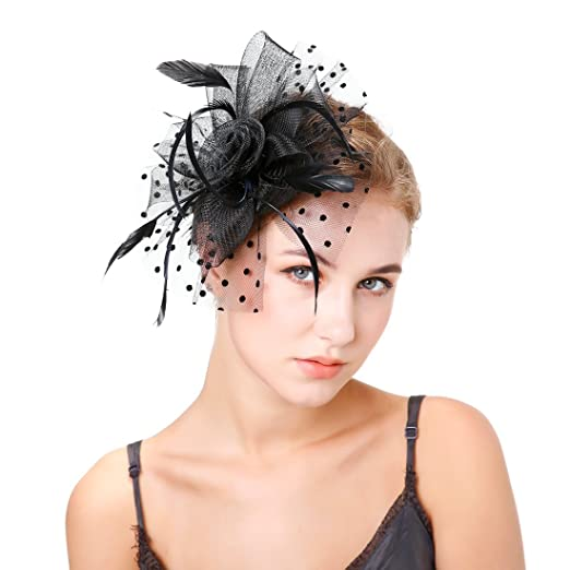 Century Star Womens Fascinator Hats for Lady Tea Party Wedding Cocktail  Flower Mesh Feathers Hair Clips c2201048912