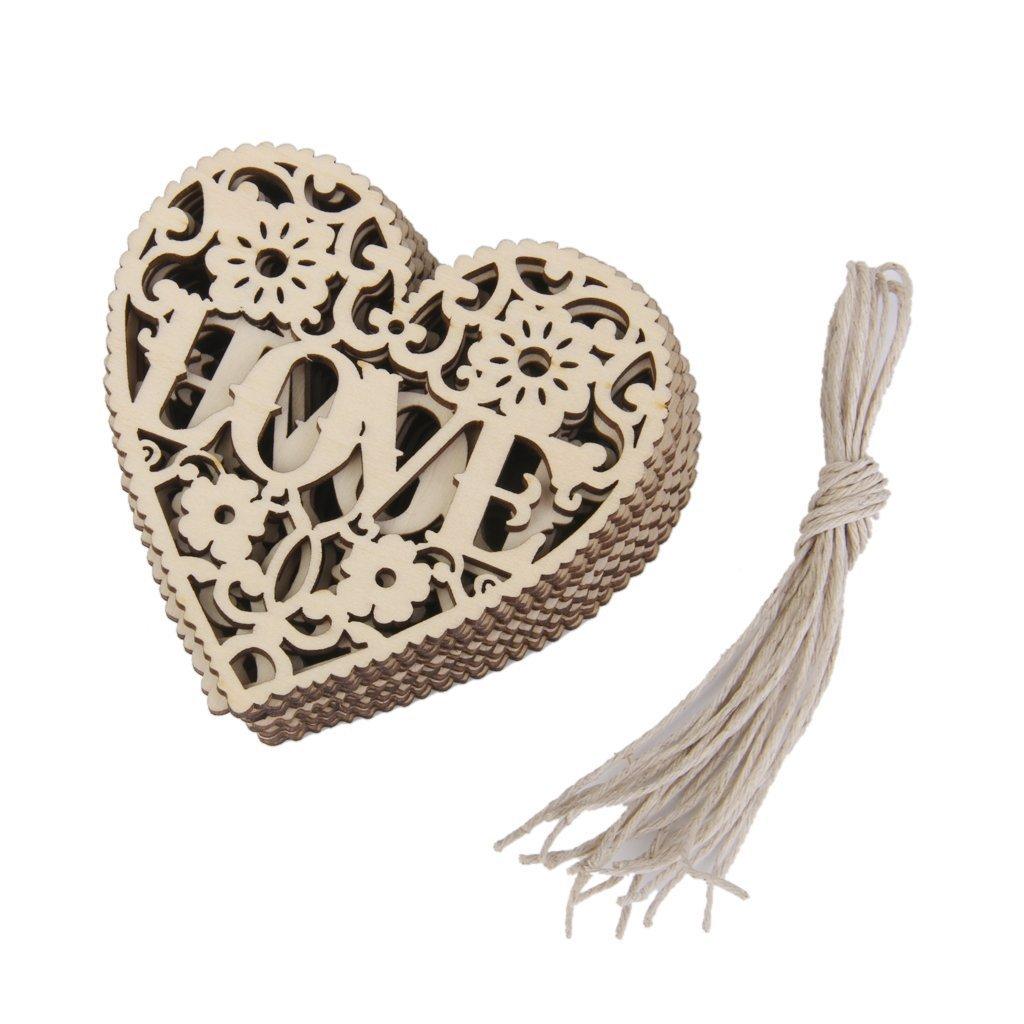 10pcs LOVE Heart Wooden Embellishments Crafts Christmas Tree Hanging Ornament 8 x 8cm CHIC*MALL FEMDBUFJBJB081