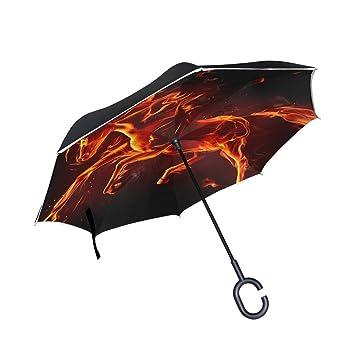 BENNIGIRY Paraguas Exterior Negro con Llamas de Caballo UV anticalígico sombrilla Elegante Reverso 3 Plegable Gota
