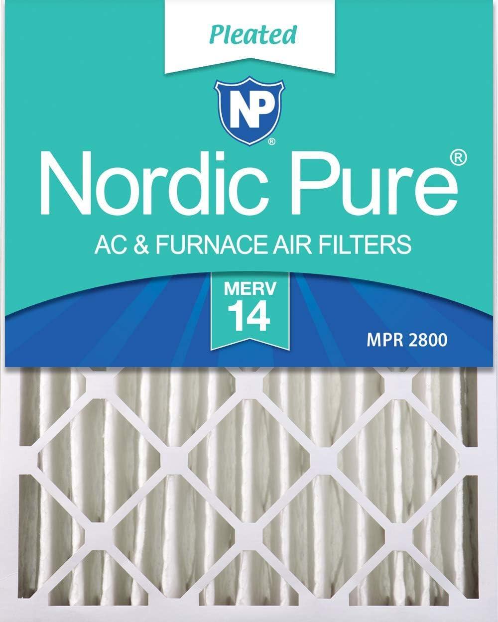 Nordic Pure 20x24x4 (3-5/8 Actual Depth) MERV 14 Pleated AC Furnace Air Filters, 6 PACK, 6 PACK (Renewed)