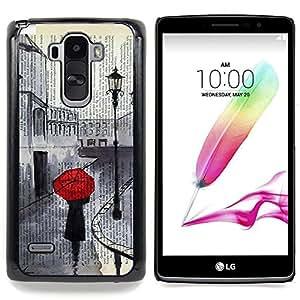 For LG G4 Stylus H631 MS631 H635 H540 H630D H542 , Pintura triste romántica Paraguas Rojo - Diseño Patrón Teléfono Caso Cubierta Case Bumper Duro Protección Case Cover Funda