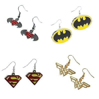 superheroes dc comics superhero logos theme 4 pair cute dangle