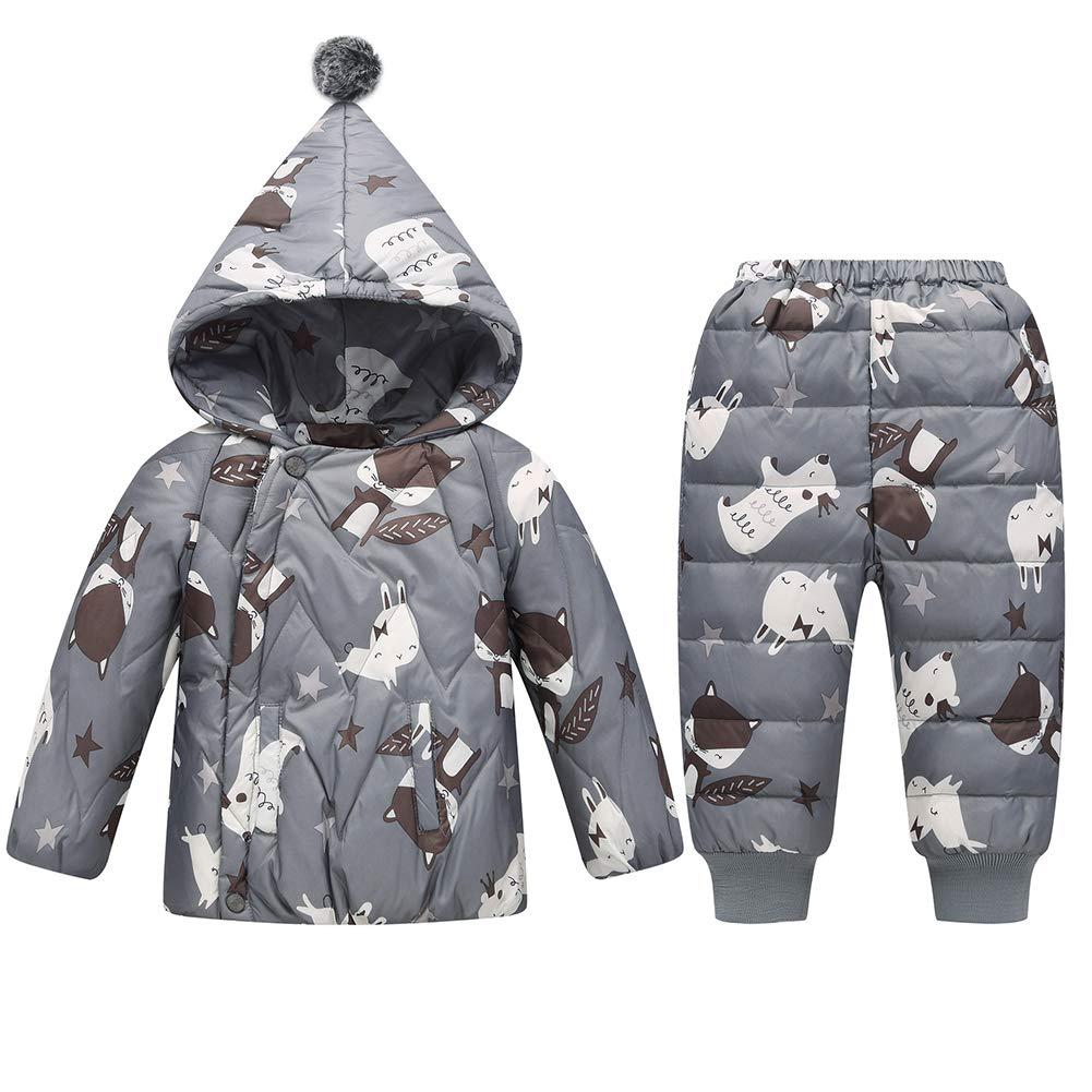 LPATTERN Unisex Baby Toddler Winter Snowsuit Cartoon Ski Snowpants Bib Down Coat Hooded Puffer Jacket 2 Piece Set Outfit uk7-F8414