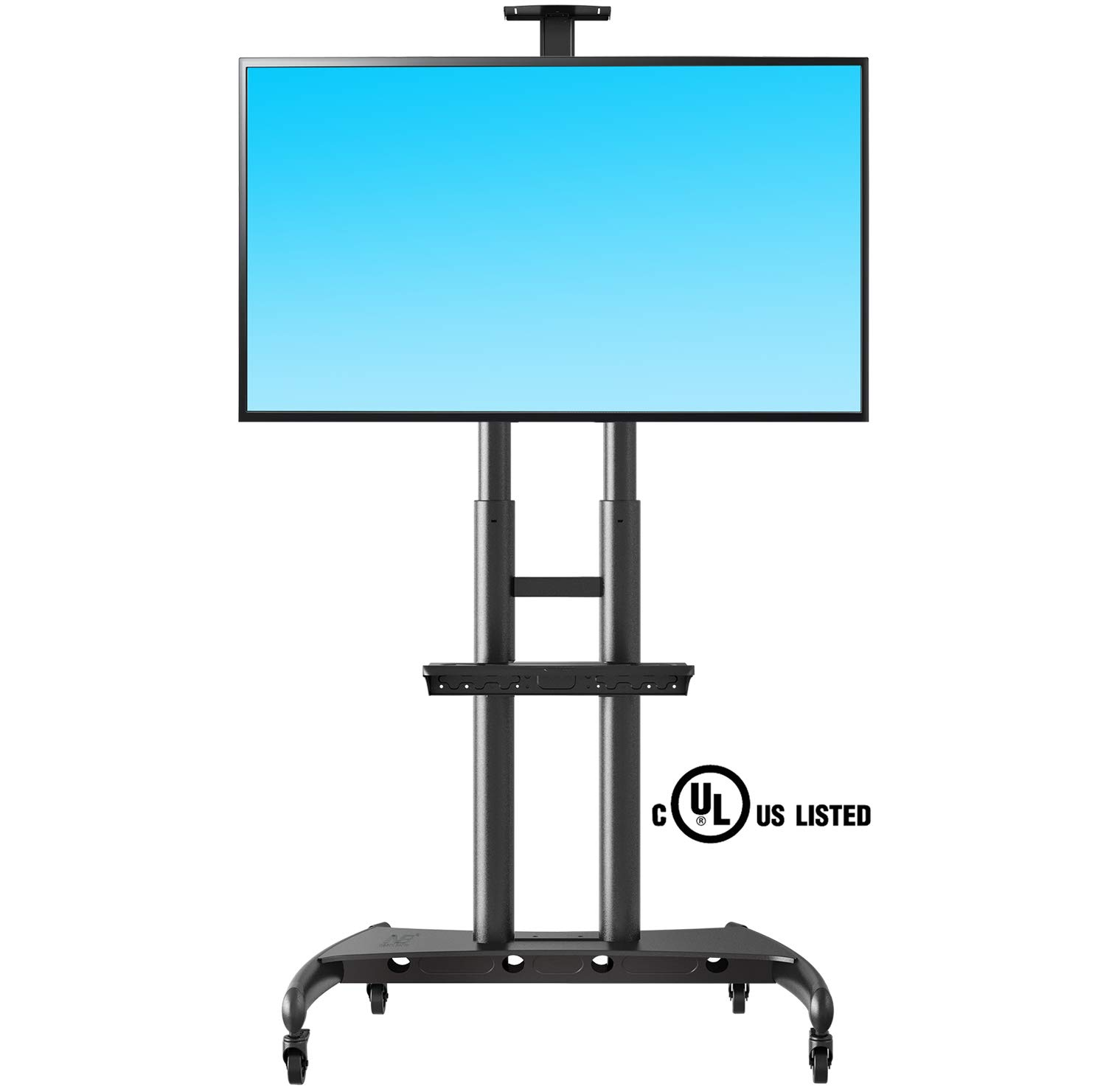 NB North Bayou Mobile TV Cart TV Stand with Wheels for 55'' - 80'' Inch LCD LED OLED Plasma Flat Panel Screens up to 200lbs AVA1800-70-1P (Black) by NB North Bayou