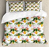 Lunarable Vintage Hawaii Duvet Cover Set Queen Size, Tropic Places Inspired Pelicans Pineapples Various Ferns Vibrant, Decorative 3 Piece Bedding Set with 2 Pillow Shams, Pale Orange Pink Green