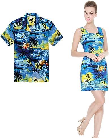 Pareja Matching Hawaiian Luau Outfit Aloha Camisa y Vestido de Tanque en Puesta de Sol Azul