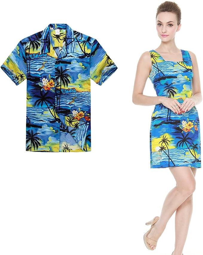 Palm Wave Couple Matching Tenues Hawaiian