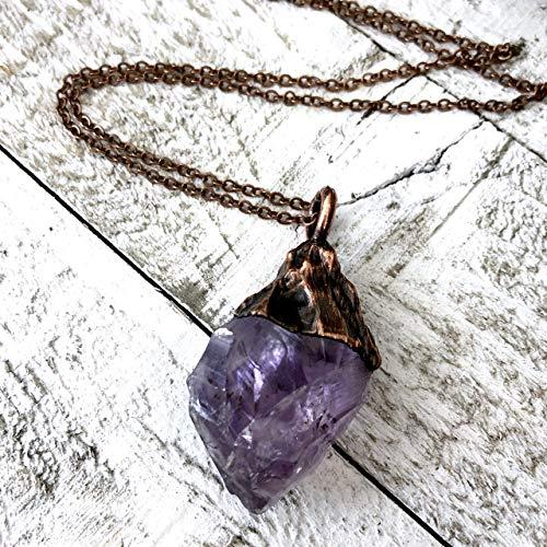 Amethyst Necklace Jewelry - Raw Purple Amethyst Crystal Necklace Pendant Boho Stone Jewelry for Women