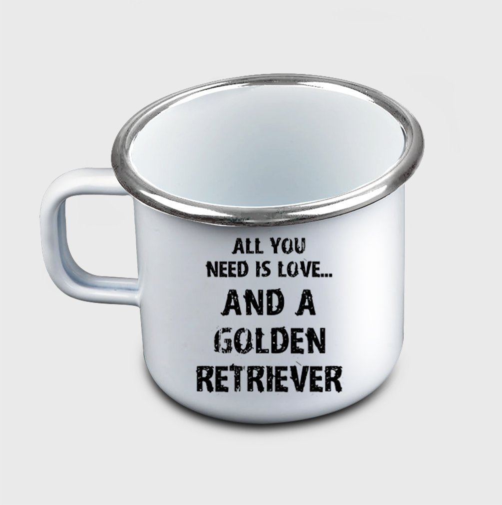 Style In Print ''All You Need Is Love… And A Golden Retriever'' Funny Pet Metal Enamel Camping Mug