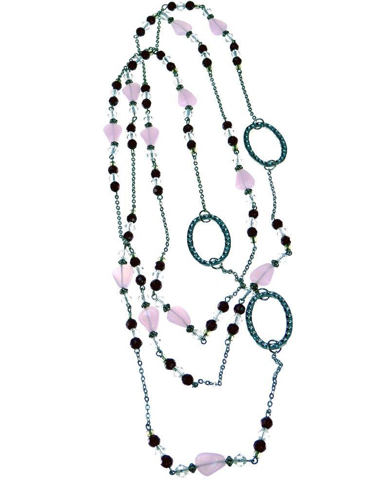 Long Beaded Eyeglass Holder Necklace - Pink/Plum