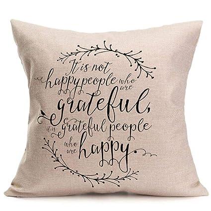 Amazon.com: Fxbar HAPPY GRATEFUL PEOPLE - Funda de almohada ...