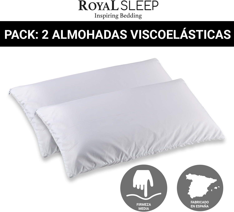 ROYAL SLEEP Pack de 2 Almohadas viscoelásticas de firmeza Media 70 ...