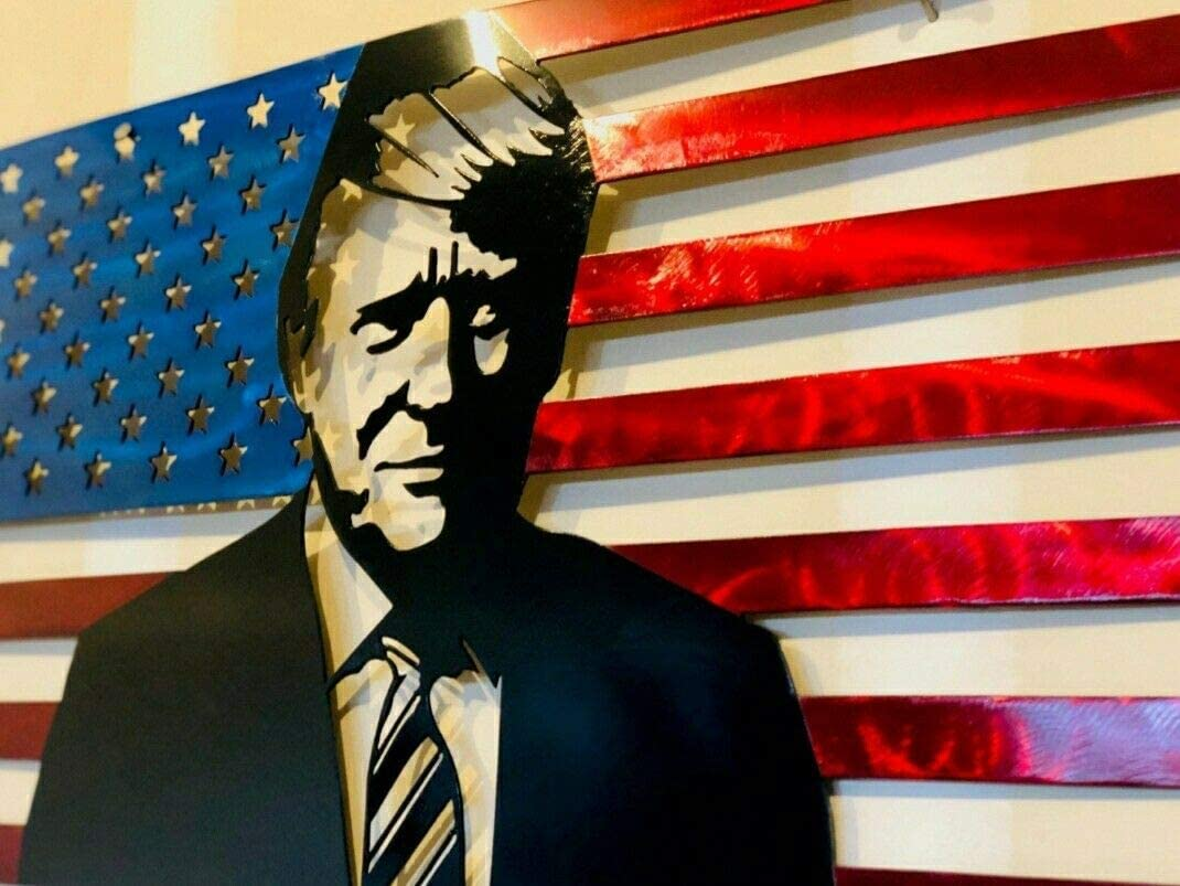 Donald Trump American Portrait Flag Metal Art Steel Sign Home Decor,12x8 Inches