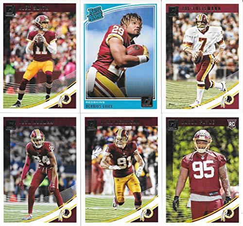 Washington Redskins 2018 Donruss NFL Football Complete Mint 12 Card Team Set with Alex Smith, Joe Theismann, Derrius Guice Rookie card (Joe Theismann Football)