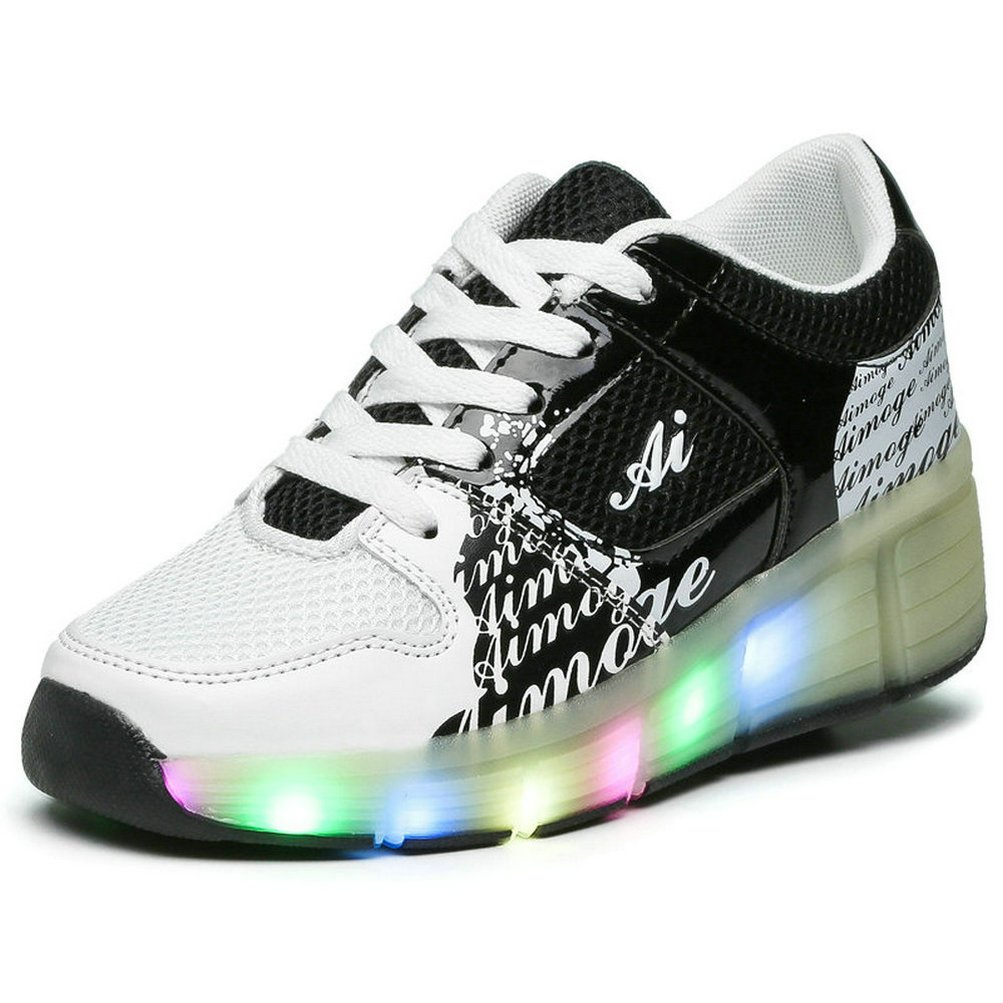Zcoins Boy Girls LED Light Roller Skate Shoes with Wheels Outdoor Sneaker (Little Kid/Big Kid)