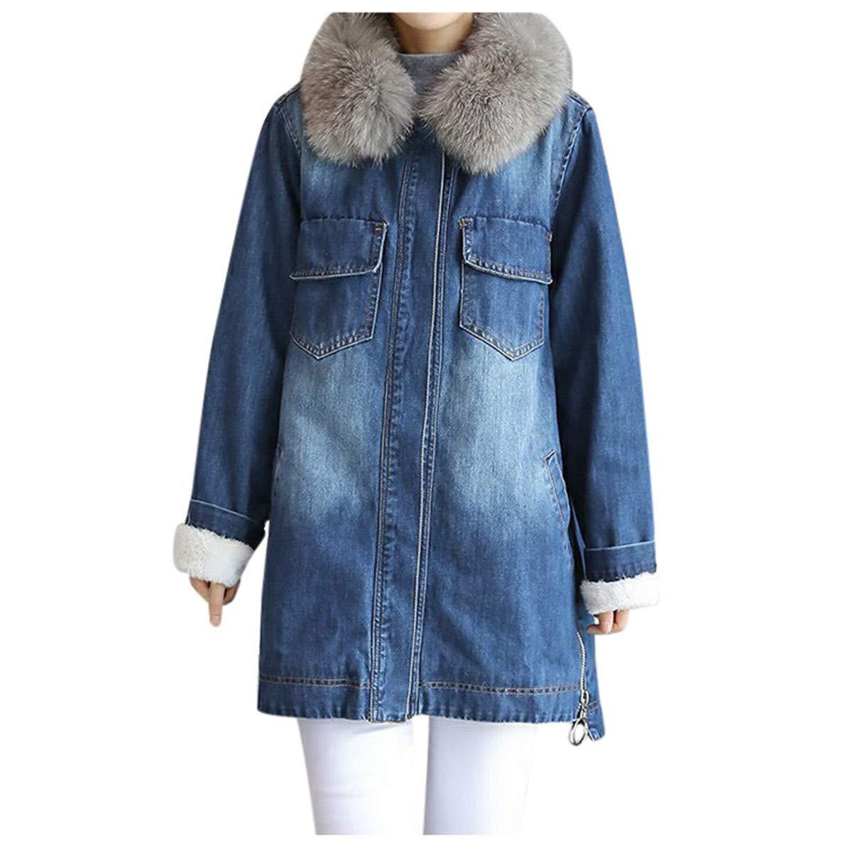 Thenxin Women's Winter Warm Denim Jacket Soft Fleece Lined Faux Fur Collar Loose Parka Outwear(Blue,S) by Thenxin