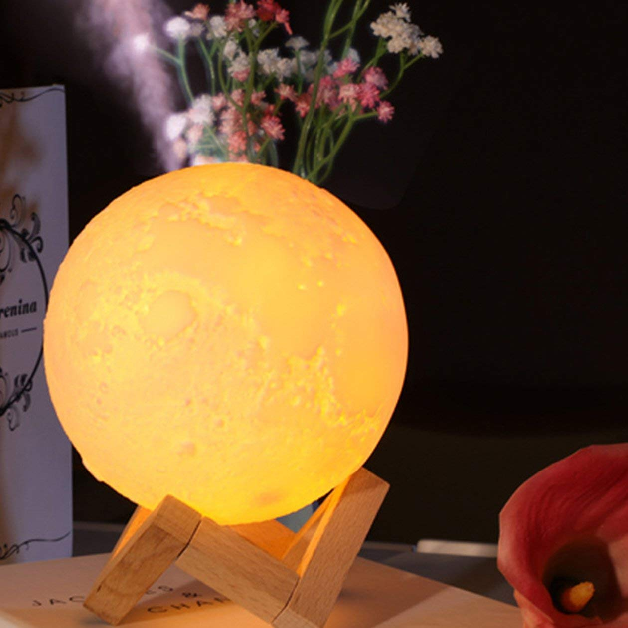 Leonie Stewart Humidificador Creativo de Interior de Gran Capacidad para Interiores Humidificador Creativo Nuevo y ex/ótico Humidificador de luz de Luna Amarillo