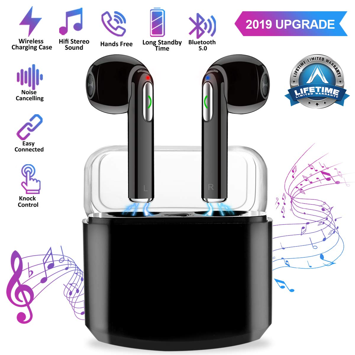Wireless Earbuds True Wireless Earphone Bluetooth Headphones Sweat Proof Earbuds HD Stereo Sound Wires Design with Charging Case
