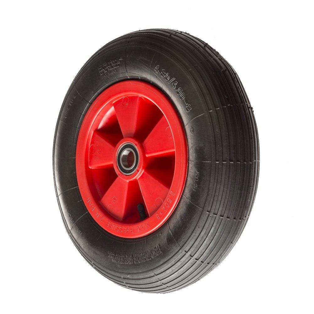 400mm Pneumatic Trolley Wheels by Ross Castors, Wheelbarrow Wheels, Universal Pneumatic Wheel with 25mm Bore - 200kg Load Capacity