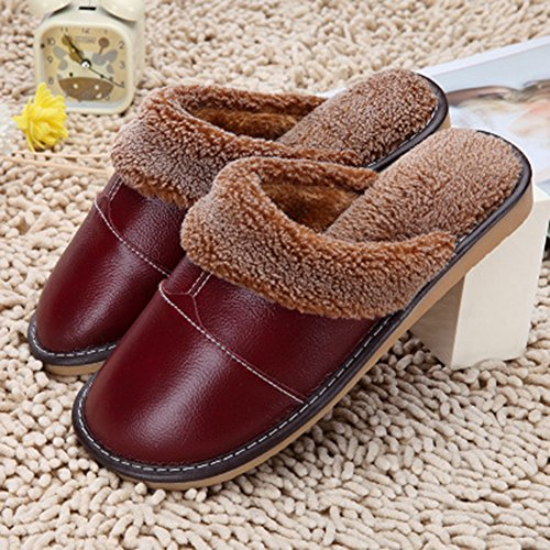 Leather PU Slip Unisex Plush On Fleece Slippers Red Wine Liveinu House Cozy gwqFHY0