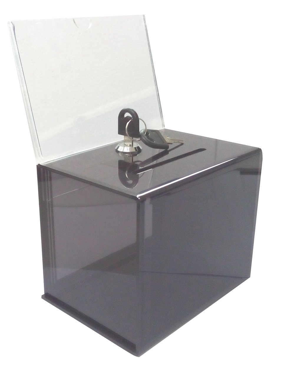 FixtureDisplays 6.1'' x 8.9'' x 4.4'' Acrylic Ballot Box with Lock, 6 x 4 Sign Holder - Amber 19215