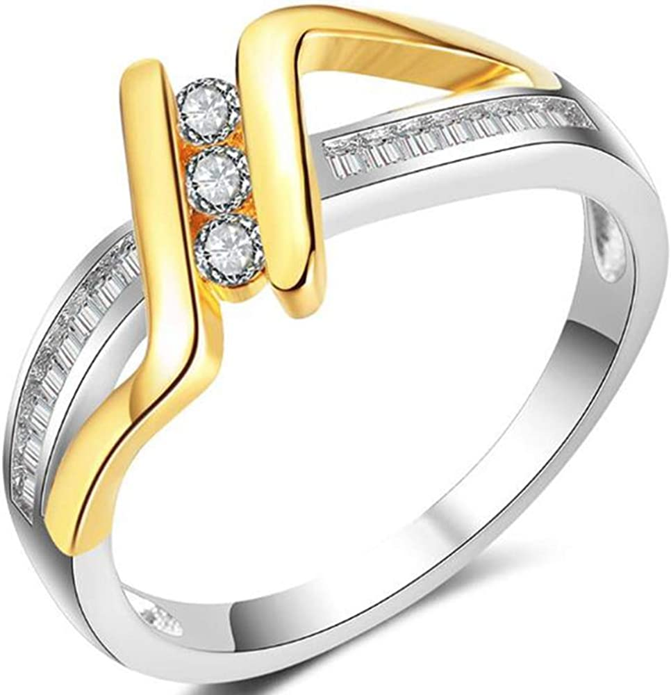 Jude Jewelers Plantinum and Yellow Gold Plated Wave Braided Style Wedding Engagement Promise Ring