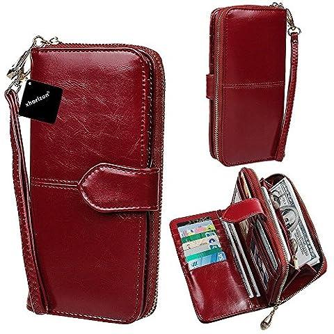 xhorizon TM SR Women Large Capacity Leather Zipper Wallet Purse Wristlet Handbag with Removable Wrist (Grande Portafoglio)