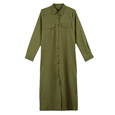 Stevenurr Popular,Hot Sell Autumn Long Sleeve Shirt Dress Women Midi Dress Casual Turn Down