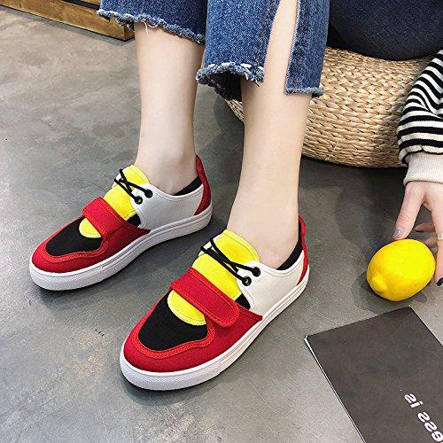 GAOLIM Zapatos De Mujer Zapatos De Lona Gruesa Primavera Solo Zapatos Zapatos De Velcro Hechizo Estudiantes De Color. El rojo