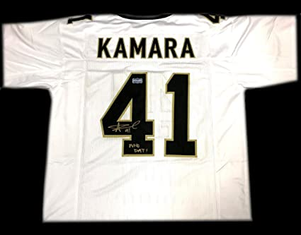 """a825ec8f3c8 Alvin Kamara Signed New Orleans White Custom Jersey with""""Who Dat""""  Inscription - Autographed"""