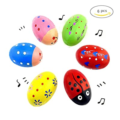 POPLAY Wooden Percussion Musical Egg Maracas Egg Shakers, 6 PCS, Random Pattern, Halloween Props