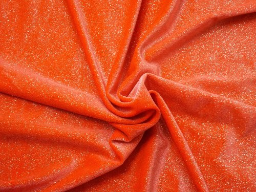 Glitter Infused 4-Way Stretch Velvet Fabric By The Yard - Neon Orange With Silver Glitter 60