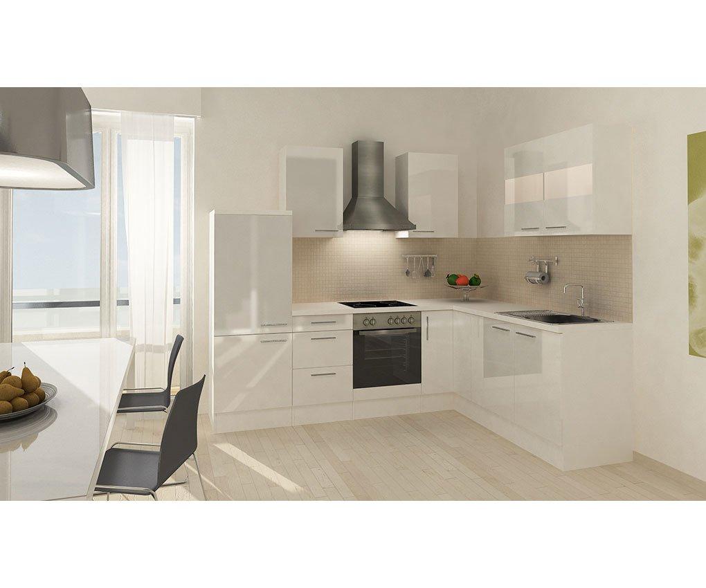 respekta Küchenleerblock Premium L-Küche 260 x 200 cm Korpus Weiß Fronten Weiß Hochglanz