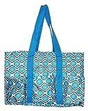 7 Pocket Fashion Print Tote Utility Bag (Geometric Turquoise)