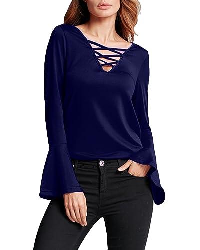 StyleDome Camiseta Mangas Largas Casual Elegante Oficina Playa Cuello V Tiras para Mujer