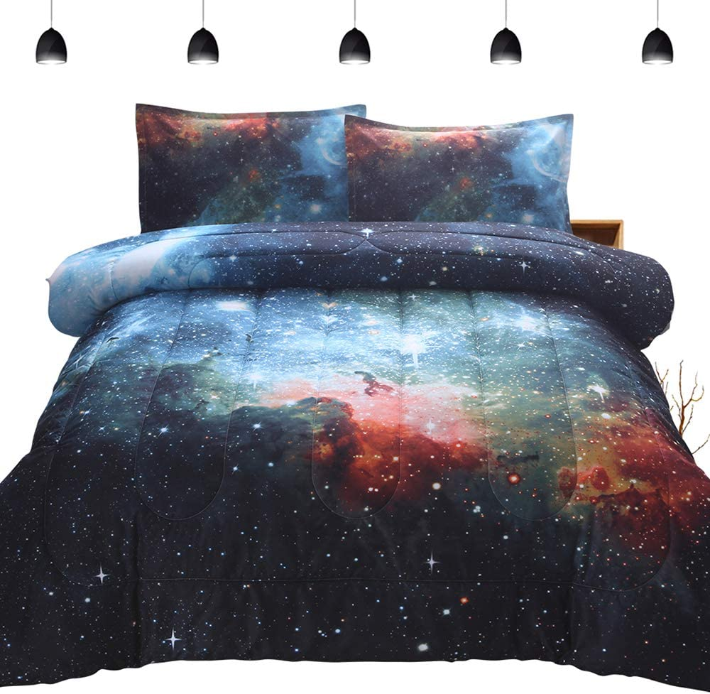 PomCo Galaxy Comforter Full (79x90 Inch), 3Pcs(1 Galaxy Comforter & 2 Pillowcases) 3D Space Outer Sky Microfiber Bedding Set, Universe Nebula Galaxy Comforter Set for Boy Girl Teen Kid