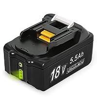 NeBatte BL1860B 18V 5,5 Ah Lithium Packs de batterie remplacement pour Makita BL1860B BL1860 avec indicateur
