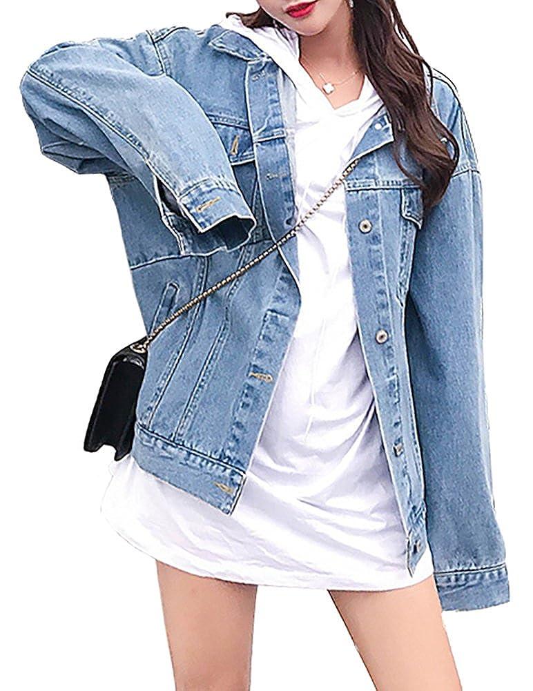 MuNiSa Women's Oversize Boyfriend Denim Jacket Long Sleeve Jean Coat with Pocket