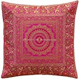 DK Homewares Indian Brocade Silk Sofa Couch Cushion Cover 16x16 Inch Christmas Decor Jacquard Mandala Floral Traditional Decorative Pillowcase (16 x 16 inches; Magenta) - 1 Piece