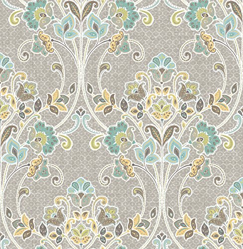 A-Street Prints 1014-001810 Willow Nouveau Floral Wallpaper, Grey