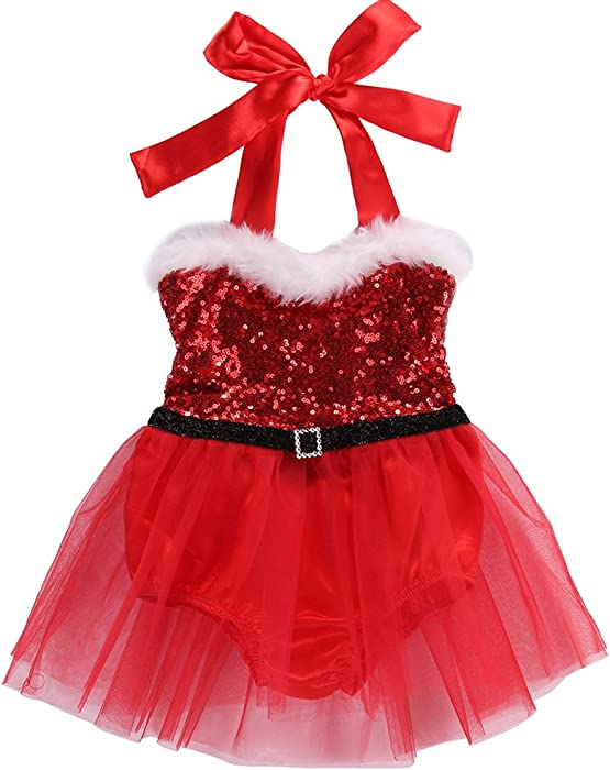 8f736be1a9 ONE S Baby Toddler Girls Halter Christmas Romper Tutu Bodysuit Dress  Costume Outfits (0-3