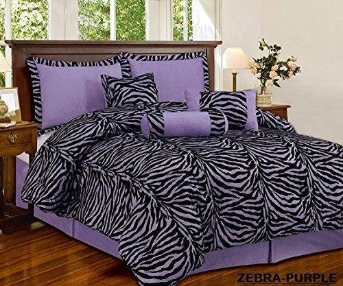 7 Piece Light Purple Black Zebra Micro Fur Comforter set Full Size Bedding