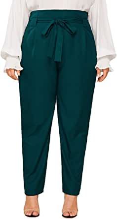 MAKEMECHIC Women's Plus Self Tie Belted High Waist Solid Carrot Pants