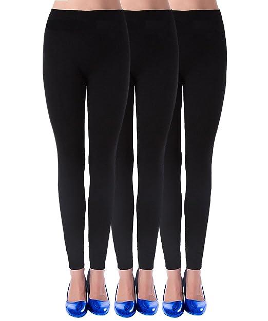 165a1bbb0d47f WOLMIK Womens Leggings Low Waist Solid Color Thin Yoga Capri Pants 3 Pack  9-Black