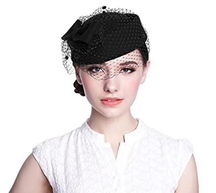 11b726a551d Aniwon Wool Pillbox Hat Retro British Style Cocktail Party Wedding  Fascinator Veil Hat for Women