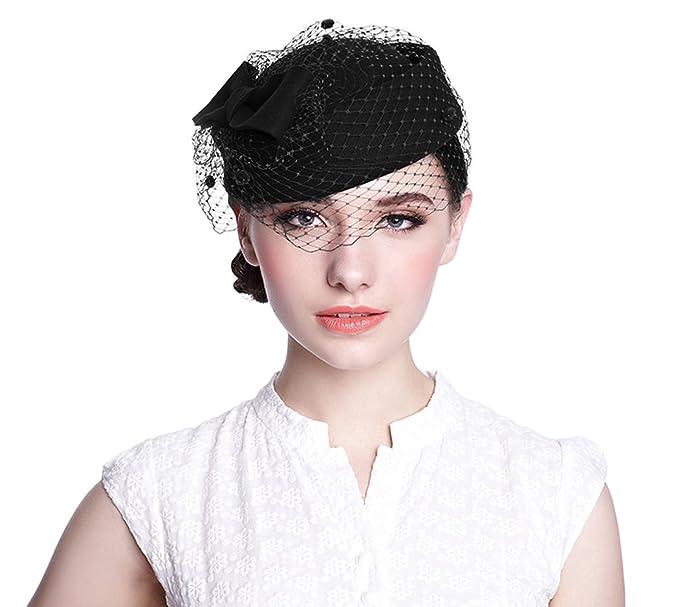 Aniwon Wool Pillbox Hat Wedding Fascinator Veil Hat for Women (Black ... c6e57814329